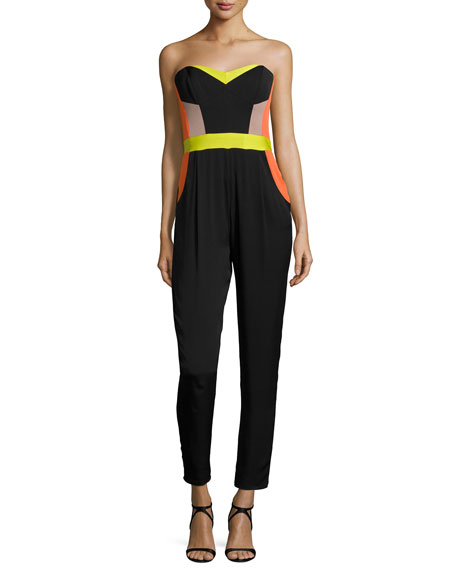 Milly Strapless Bustier Colorblock Jumpsuit