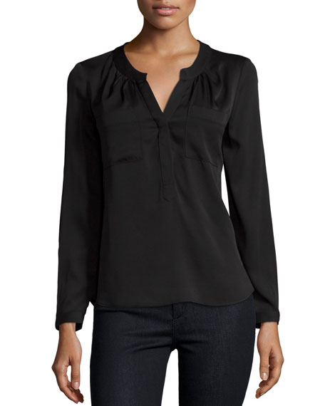 Milly Brooke Long-Sleeve Blouse