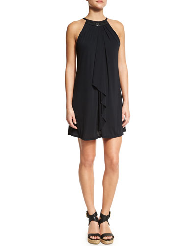 St. Martin High-Neck Layered Coverup Dress