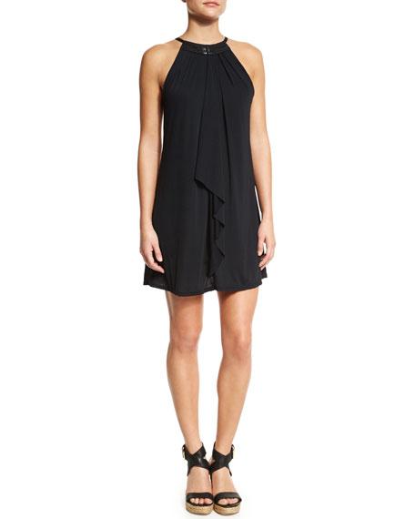 Carmen Marc Valvo St. Martin High-Neck Layered Coverup Dress
