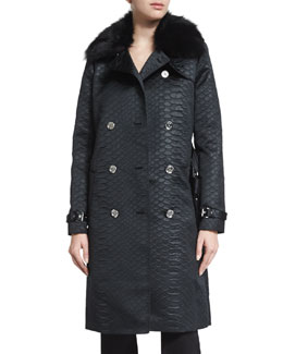 Alligator-Embossed Trench Coat with Fur Collar