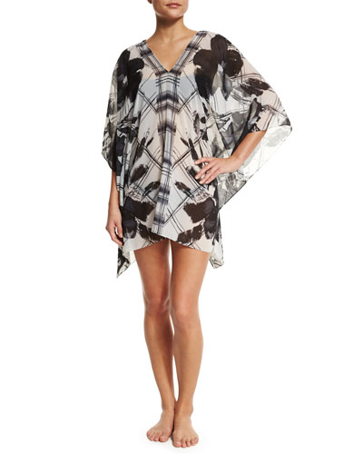 Sophia Printed Georgette Coverup, Black