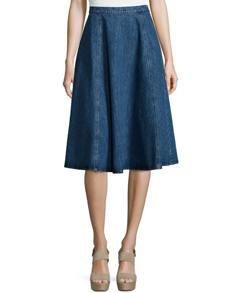 Michael Kors Seamed Denim Flare Skirt, Chambray