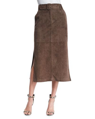 Ramona Belted Suede Skirt