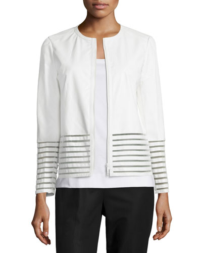 Aisha Leather Jacket with Illusion Trim, White