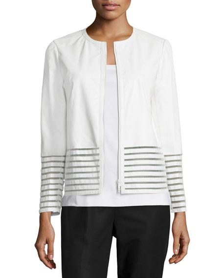 Lafayette 148 New York Aisha Leather Jacket with Illusion Trim, White