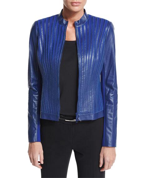 Lafayette 148 New York Biana Leather and Ponte Striped Jacket