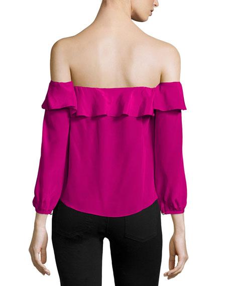 Joanna Ruffled Silk Crop Top, Magenta