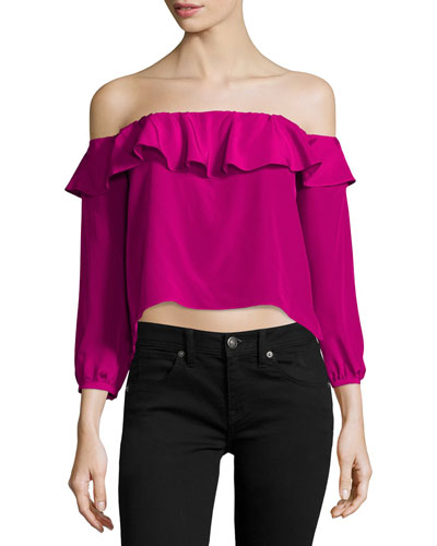 Joanna Ruffled Silk Crop Top, Magenta
