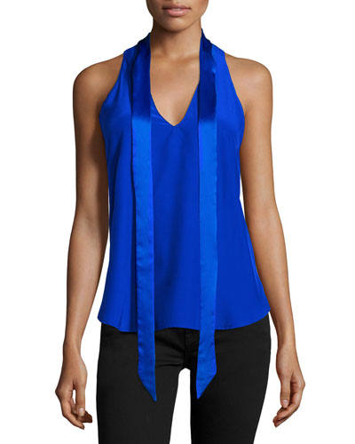 Becca Sleeveless Tie-Neck Top, Royal