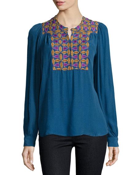 Antik Batik Kwanita Embellished Blouse, Blue