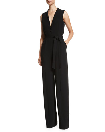 Meredith Sleeveless Belted Jumpsuit, Black