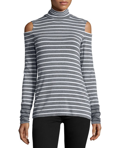 Tate Cold-Shoulder Striped Top, Marengo/Chalk