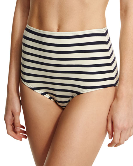 kate spade new york nahant shore striped high-waist swim bottom