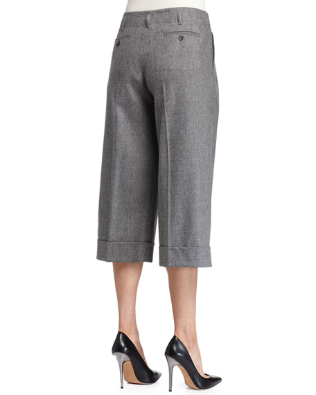 Pleated-Front Culotte Pants, Banker