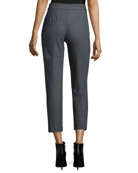 Slim-Leg Cropped Pants, Heather Gray