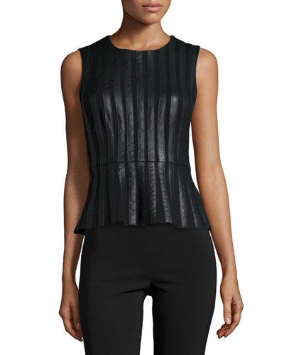 Roland Striped Faux-Leather Peplum Top, Black