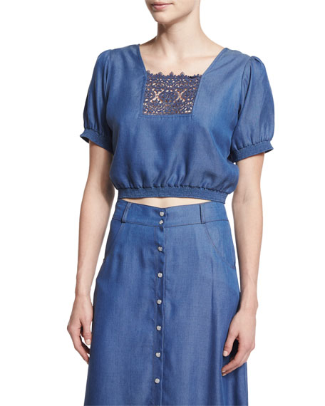 Carisa Rene Solstiss Short-Sleeve Blouse, Blue