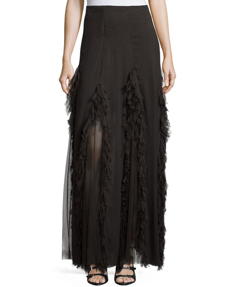 Carisa Rene Mesh-Inset Maxi Skirt, Coal