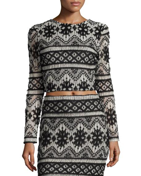 Carisa Rene Garzata Long-Sleeve Crop Top, Black/White