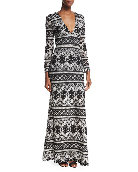 Carisa Rene Anna Maria Long-Sleeve Printed Gown, Black/White