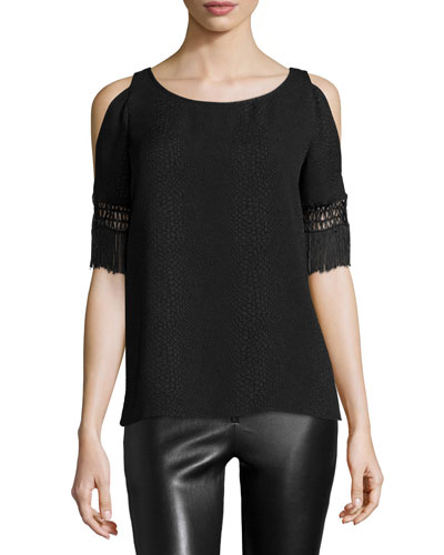 Willow Cold-Shoulder Blouse, Black