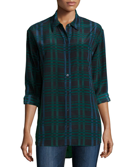 Image 1 of 2: Daddy Long-Sleeve Plaid Blouse, Ink Multi
