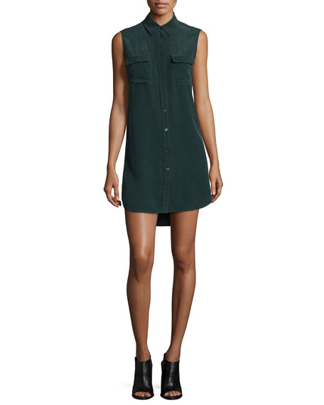 Equipment Slim Signature Sleeveless Shirtdress, Green