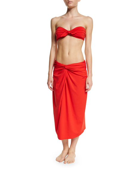 Michael Kors Collection Front-Twist Sarong Skirt Coverup, Coral