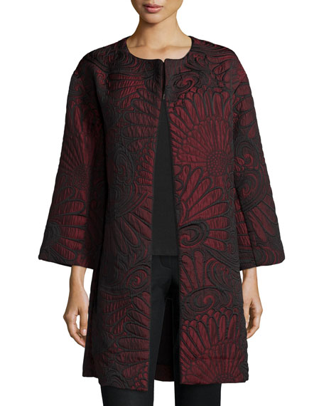 Natori Long-Sleeve Embossed-Petal Jacket, Vermilion