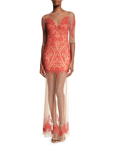 Lotus Embroidered Mesh Maxi Dress, Fire Red