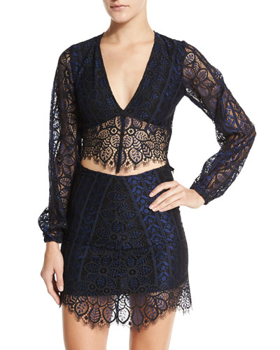 Lyla Lace Crop Top & Skirt Set, Navy/Black