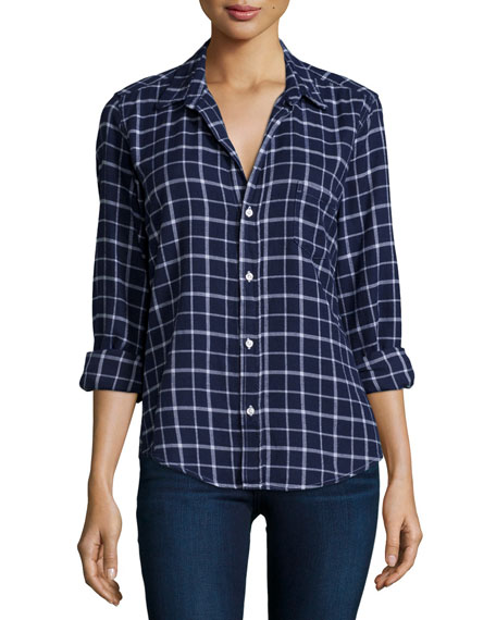 Frank & Eileen Barry Long-Sleeve Windowpane Shirt, Blue