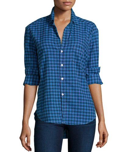Eileen Button-Front Check-Print Shirt, Blue