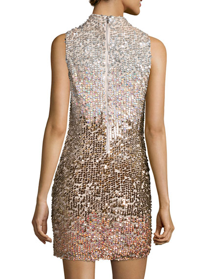 Cosmic Beam Embellished Mini Dress, Bellini