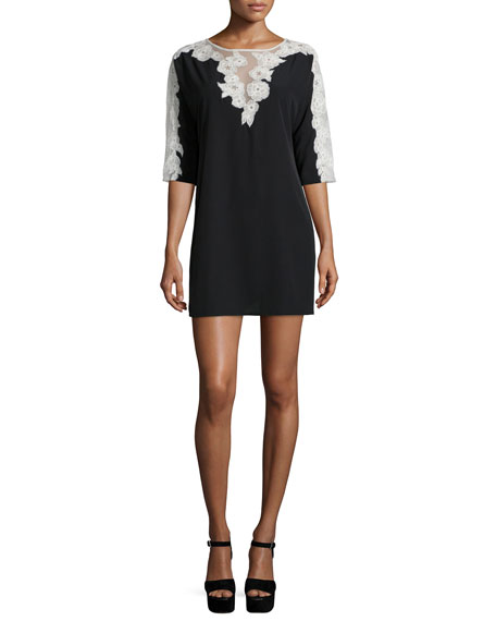 French Connection Isla Half-Sleeve Shift Dress, Black/White
