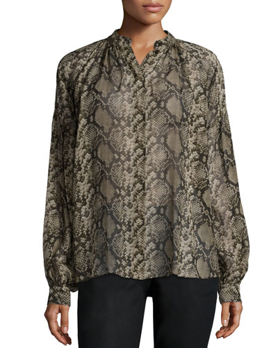 Michael Kors Collection Long-Sleeve Snake-Print Peasant Blouse,