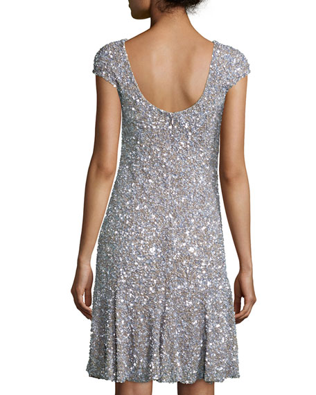 Cap-Sleeve Sequined Flounce Hem Dress