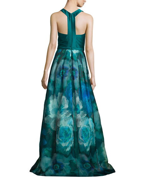 Sleeveless T-Back Floral-Print Gown, Peacock