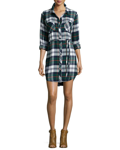 Nadine Belted Plaid Shirtdress, Green/Ivory Flannel