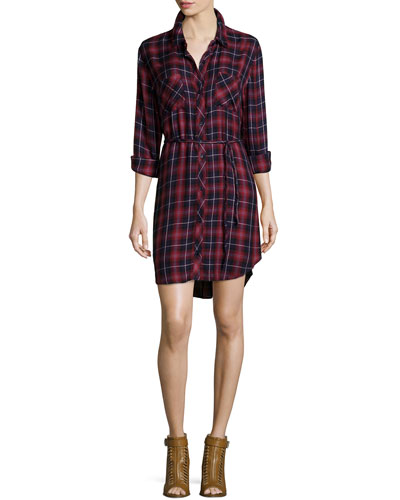 Nadine Belted Plaid Shirtdress, Midnight Wine