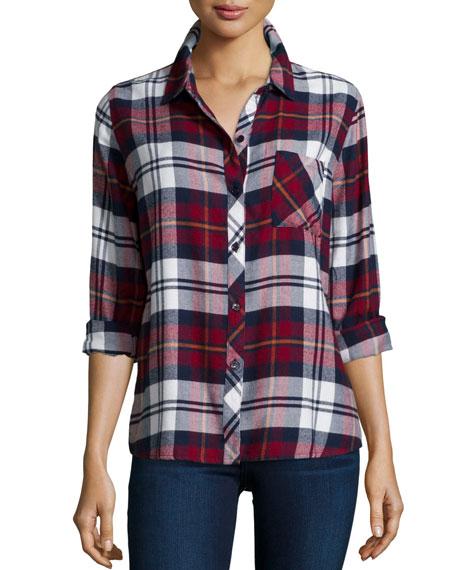 Rails Hunter Plaid Long-Sleeve Shirt, Wine/Ivory/Flannel