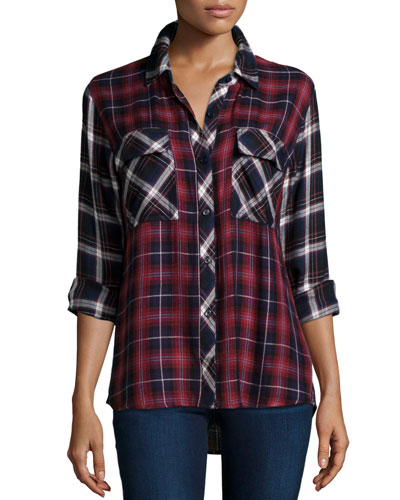 Liza Two-Tone Plaid Long-Sleeve Shirt, Navy/Wine