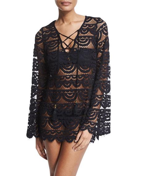 PilyQ Noah Crocheted Tunic Coverup, Black/Gold