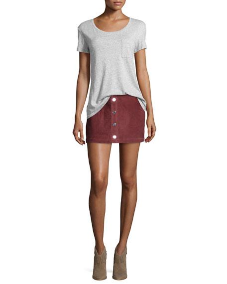 Lotta Suede Mini Skirt, Brick Red