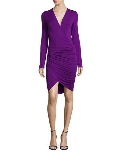 Babe Faux-Wrap Fitted Dress, Amethyst