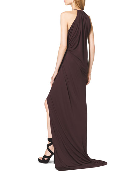 Tissue-Jersey Halter Dress