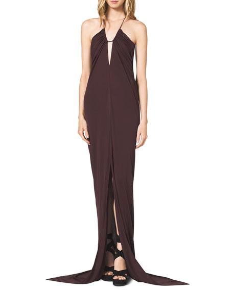 Tissue-Jersey Halter Dress