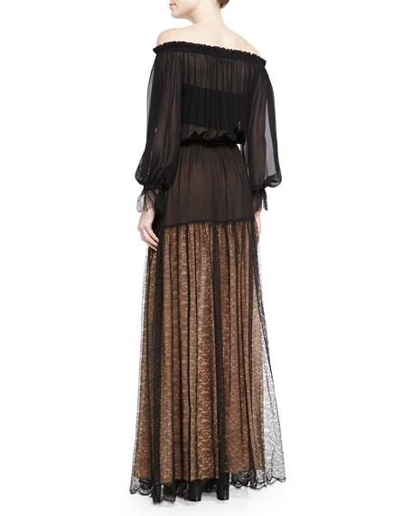 Sheer Off-The-Shoulder Dress