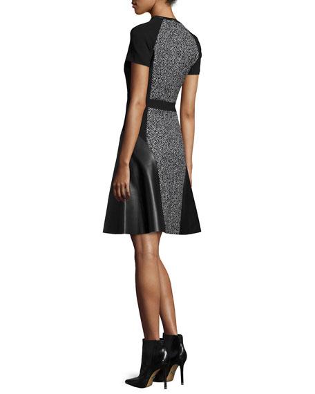 Short-Sleeve Combo Dress, Black/White